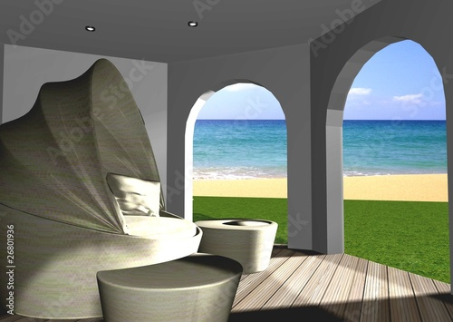 fototapete meerblick 3d berdachte terrasse mit meerblick. Black Bedroom Furniture Sets. Home Design Ideas