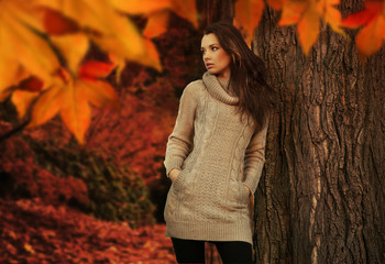 Young woman in a romantic autumn scenery