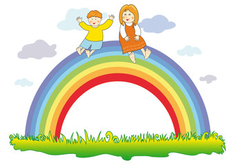 Happy children on the rainbow