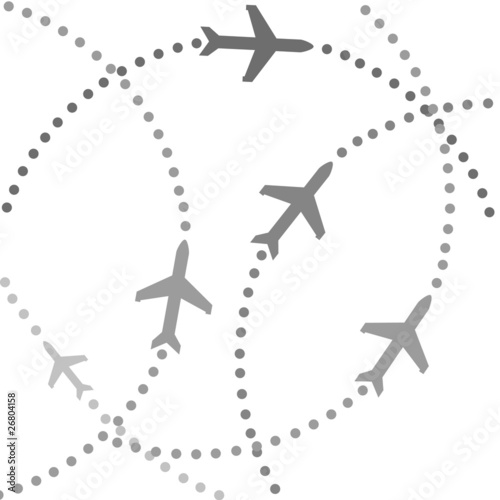Planes on flight paths