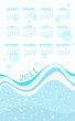 2011 calendar with wavy water background
