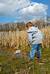 Boy Exploring Swamp