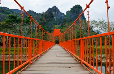 Red bridge over song river, vang vieng, laos