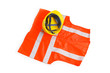 Orange vest and hardhat isolated on the white