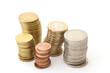Münztürme, diverse Münzen, Querformat