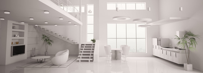 Weisses apartment interior panorama 3d render