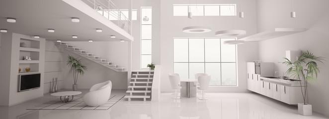 Weisses apartment interior panorama 3d render