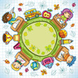 Colorful round composition, with cute schoolchildren