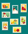 Set of Christmas Postage stamps, vector illustration