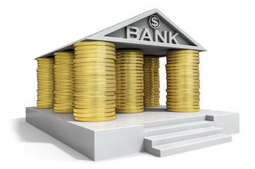 Bank institution icon with gold coins columns