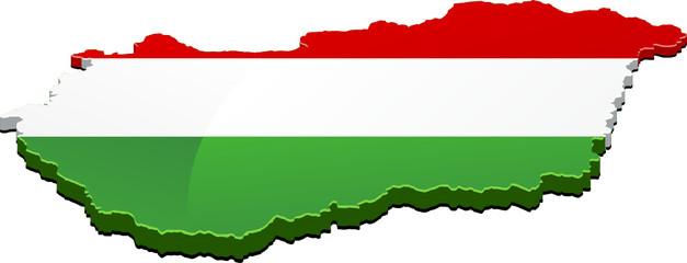 Carte de la Hongrie 3D drapeau (détouré)
