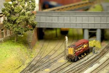 model locomotive on a train set landscape