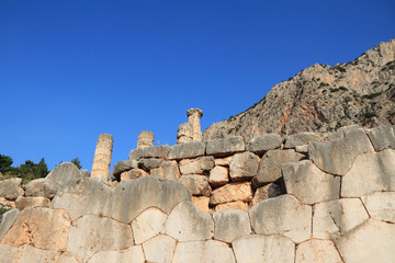 Ruins in Delphi, Greece.