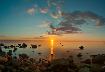 Sunset view over Baltic sea