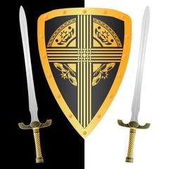 fantasy shield and swords. third variant