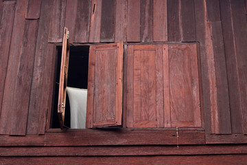 thai style window wood house