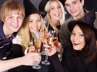 Group young people drinking champagne.