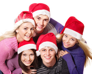 Group young people in santa hat .
