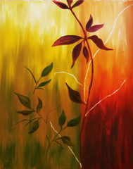 Oil painting of fall leaves
