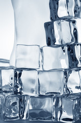 Frozen transparent  ice cubes close-up