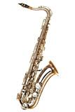 gold saxophone on white background