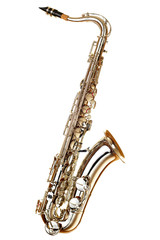 gold saxophone on white background