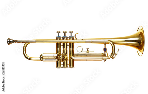 Staande foto Muziekwinkel brass trumpet over white background
