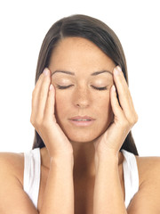 Young Woman with Headache. Model Released