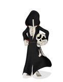 skeleton cartoon cloak do not loose your head poster