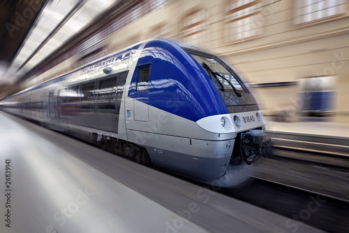 Leinwandbild Motiv High-speed train in motion