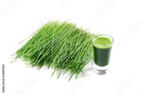 Shot glass of wheatgrass