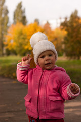 Beautiful baby in autumn