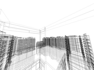 Abstract architectural 3D construction. Modern architecture.