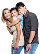 Portrait of happy fun family  - three person