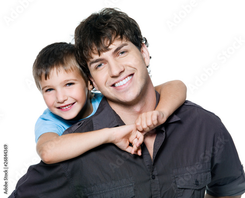 Portrait of happy father and son