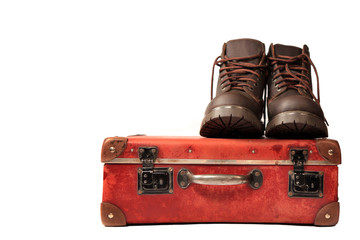 suitcase and boots