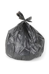 Black garbage bag isolated on a white background