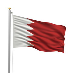 Flag of Bahrain waving in the wind in front of white background