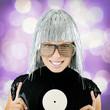 funky girl holding vinyl record