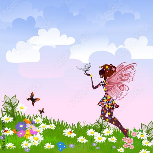 Fototapeta Celestial Fairy on a flower meadow