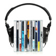 Headphones on stack of CDs - 26854337