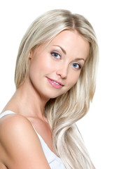 Smiling woman with long straight hair