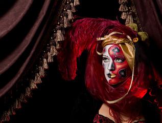 cool Venetian mask makeup over vintage interior