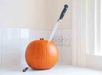 Knife in a pumpkin