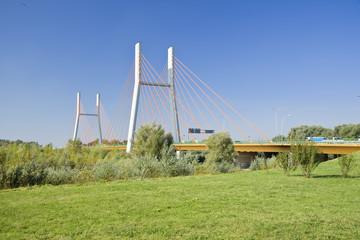Modern suspension bridge. Warsaw in Poland.