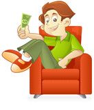 Young entrepreneur holding money while he relax poster