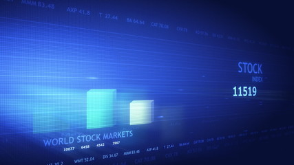 Financial crisis concept in blue futuristic screen