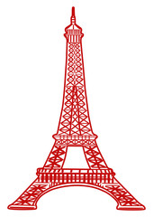 illustration of Eiffel tower in red color