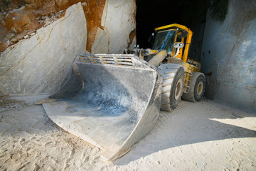 Excavator in a marble quarry of Carrara, Italy
