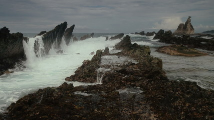 wild wave in dramatic seascape